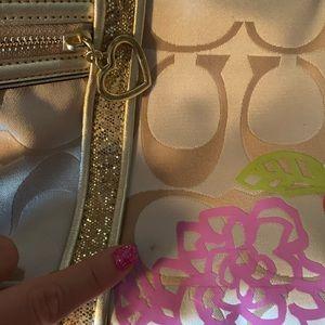 Coach Bags - Coach Poppy F20762 Daisy Floral Gold Glitter Bag